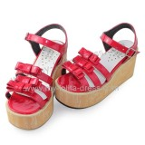 Glossy Red Wood Camouflage Sole Lolita Sandals