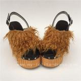 Beautiful High Platform Black Lolita Shoes with Tan Imitate Furs
