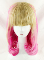 Japanese Fashion Blond Pink 50cm Long Girls Wig