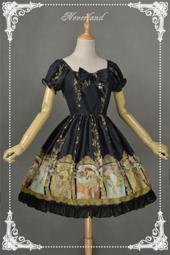 Neverland Lolita -Mucha Four Seasons- Printed Lolita OP Dress