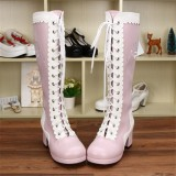 Angelic Imprint- Punk Style Lace-up Knee Lolita High Boots with Side Zip