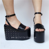 Black Matte Single Belt Rivets Lolita Sandals
