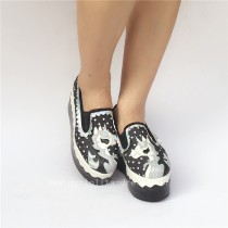Unique Black White Denim Lolita Shoes with Unicorn Pattern