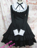 Long Sleeves Bow Cotton Lolita Dress Black Size XXL - In Stock