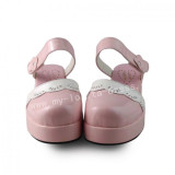 Girl's Sweet Pink White Lolita Sandals