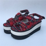 Scottish Red Tartan Lolita Sandals with Double Colors Soles