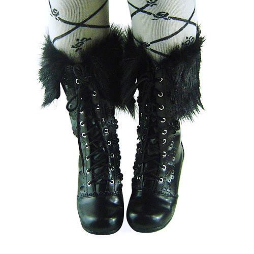 Black Short Shaft Fur Lolita Boots