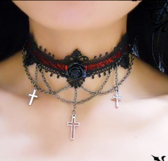 Roses Cross Lace Lolita Neck Belt