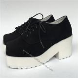 Black Velvet Lolita Shoes with White Soles