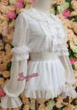 Chiffon Luxury Sleeves Dots Velvet Lolita Shirt Black Size XL - In Stock