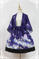 At the beginning of January ~ Lolita Printed Haori + Skirt Purple L In Stock