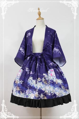 At the beginning of January ~ Lolita Printed Haori + Skirt Purple L In Stock