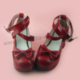 Wine Red 3 Straps Bow Lolita Shoes