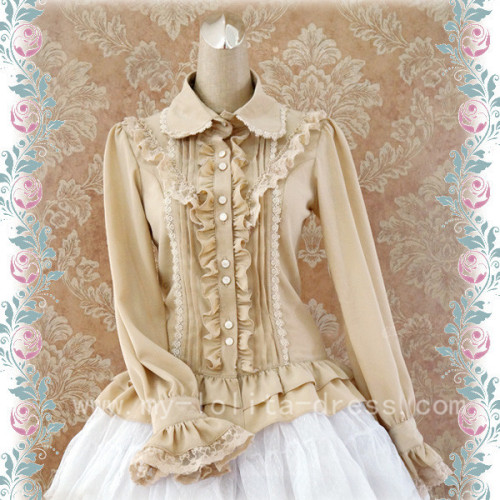 Rococo Style Lace Lolita Shirt Silk and Linen Khaki -In Stock
