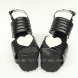 High Platform Black Matte with White Hearts Lolita Sandals