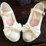 Elegant White Bow Pearls Lolita Heels Shoes