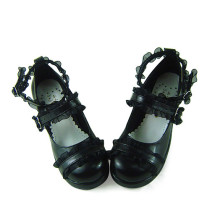 Black Sash Straps Lolita Shoes