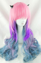 Pink Purple Grey Blue 4 Colors Rainbow 70cm Curls Wig