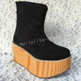 Black Velvet Wood Camouflage Sole Lolita High Platform Boots
