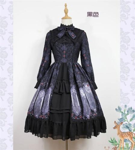 Nightmare Spells~ Lolita Long Sleeves OP Dress