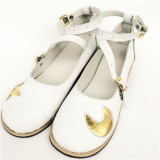 White Real Leather Lolita Shoes with Moon & Star Pattern