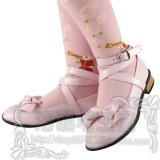 Black/White/Pink/Red Flat Heels Lolita Shoes -Pink Size 38 In Stock