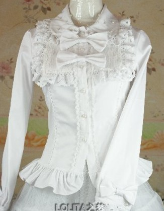 (Replica)Long Sleeves Lace Girls Blouse White Size XL In Stock