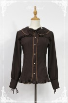 Liqueur Chocolate~ Peter Pan Collar Brown Lolita Blouse -Coffee Size XL In Stock