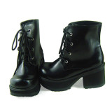 Black Ankle High Lolita Shoes
