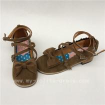 Unicolor Bow Lolita Shoes Square Heels Tea Party Shoes