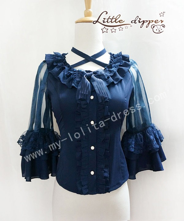Round Collar Lace Strips Shirt Wine S - IN STOCK