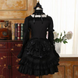 Cross Collar Gothic Lolita Long Sleeves OP Dress
