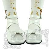 Black/White/Pink/Red Flat Heels Lolita Shoes