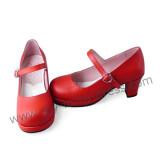 Red PU Single Strap Lolita Shoes