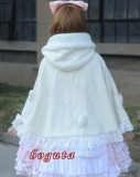 Cream Lace Lolita Cape with Hat off