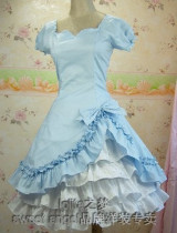 (Replica)Skyblue Sweetheart Neckline Lolita Dress Size L -Free Shipping