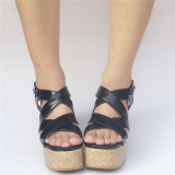 High Platform White Black Cross Straps Lolita Sandals