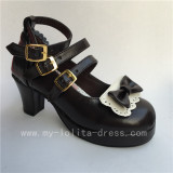 Sweet Coffee with White Bow Straps Lolita Heel Shoes