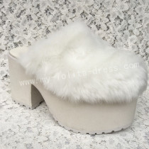 Sweet White Imitate Bunny Fur Lolita Heels Shoes High Platform