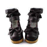 Wool Color Heel Black Sweet Shoes