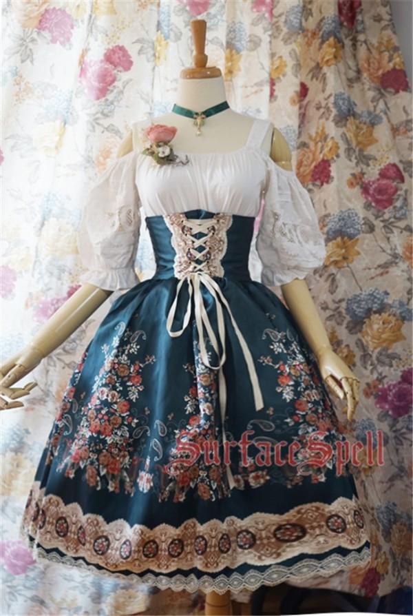 Surface spell ~AlpenRose~ Gothic Ethnic Lolita High Waist Fishbone Skirt
