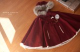 Little Red Hat Fur Lolita Cape with Hat off