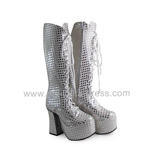 Beautiful Silver Spades Lolita Middle Shaft Boots