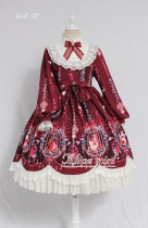 Dream In the Cage~ Sweet Lolita OP/JSK -Pre-order Wine JSK Size S & Wine OP Size L- in Stock