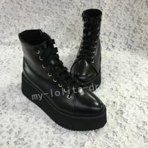 Gothic Matte Black Lolita Short Boots