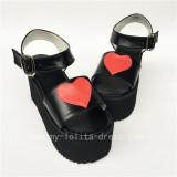Sweet High Platform Black with Red Hearts Lolita Sandals