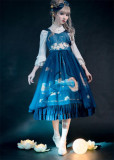 NyaNya Lolita Boutique ~Over the Sea the Moon Shines Bright V-neck Lolita JSK -Ready Made