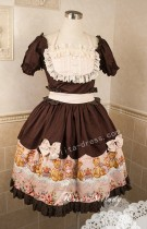 Chocolate Pink Lolita OP Dress with Bear and Rose Prints