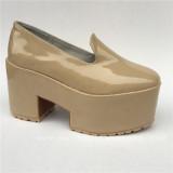 Beautiful Cream-coloured Glossy Square Heels Lolita Shoes