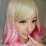 Light Yellow Pink Sweet Short Lolita Wig